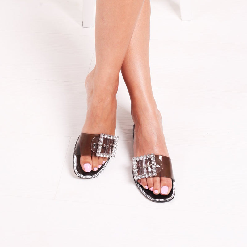 OBSESSED - Black Slip On Slider With Large Buckle Detail & Diamante Trim