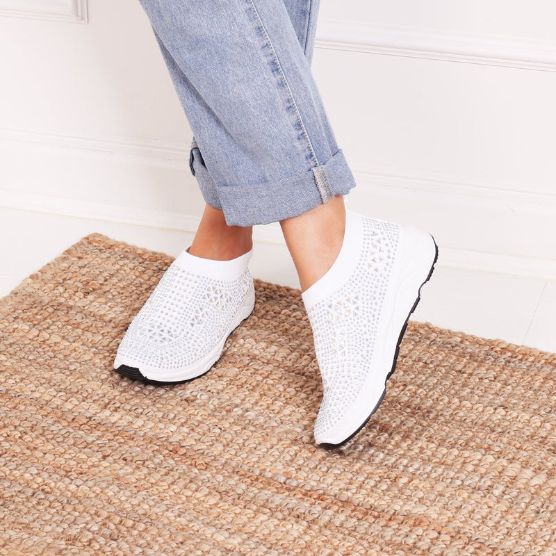 AMBITIOUS - White Sock Trainer With All Over Diamante Detail & White Rubber Sole