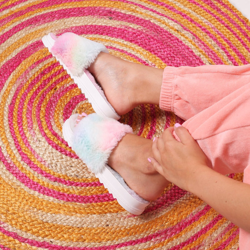 FLUFFY - Tie Dye Fluffy Open Toe Slippers With Cleated Sole