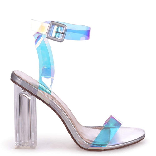 JOSLIN - Silver All Over Holographic Perspex Heel With Glass Block Heel
