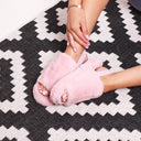 COMFY - Pink Fluffy Slingback Slippers With Platform Sole