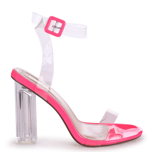 JOSLIN - Pink All Over Perspex Heel With Glass Block Heel