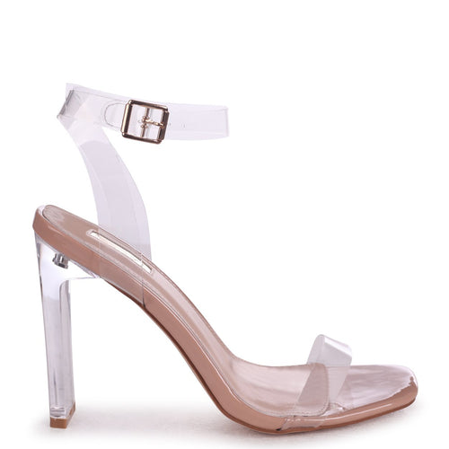 EVIE - Nude Patent All Over Perspex Slim Heeled Sandal With Sqaure Toe