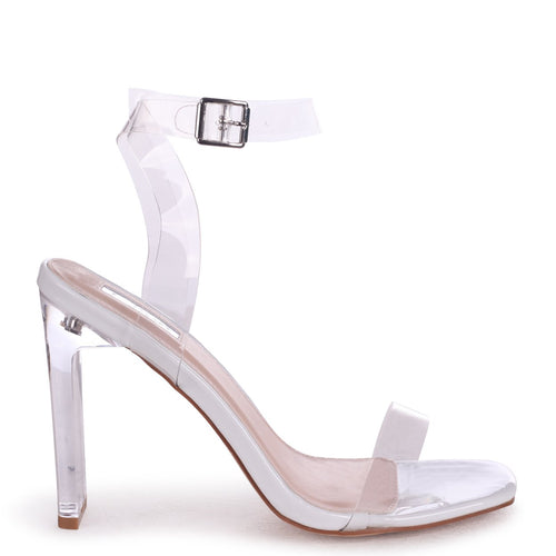 EVIE - White Patent All Over Perspex Slim Heeled Sandal With Sqaure Toe