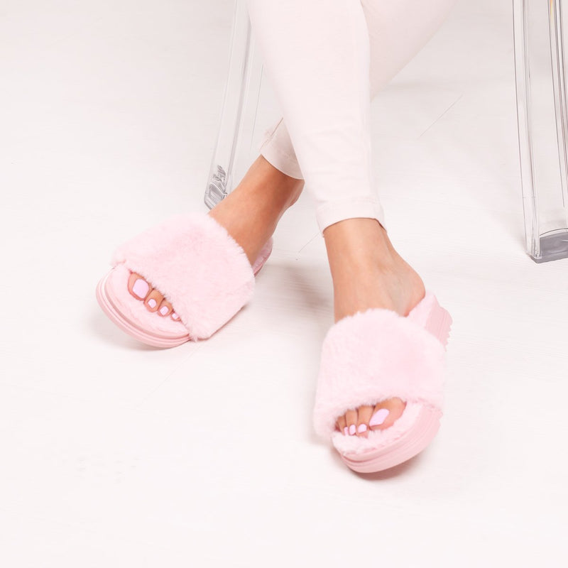 Pink Fluffy Open Toe Slippers With