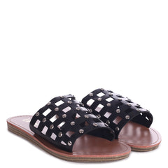 PEACHES - Black Nappa Slip On Slider With Studded Caged Front Strap