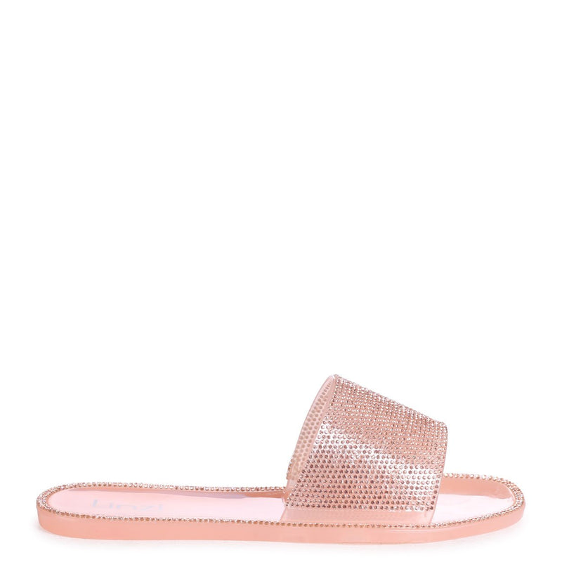 SOCIETY - Nude Diamante Slip On Slider