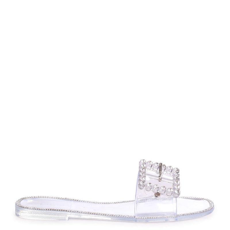 OBSESSED - Clear Slip On Slider With Large Buckle Detail & Diamante Trim