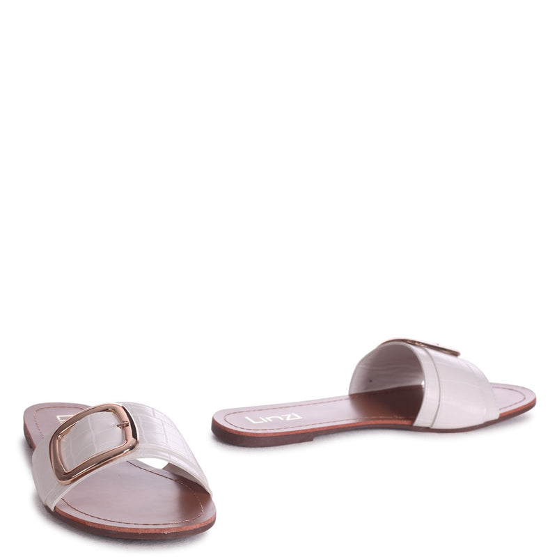 RHODES - White Croc Slip On Slider With Large Front Strap & Buckle Detail