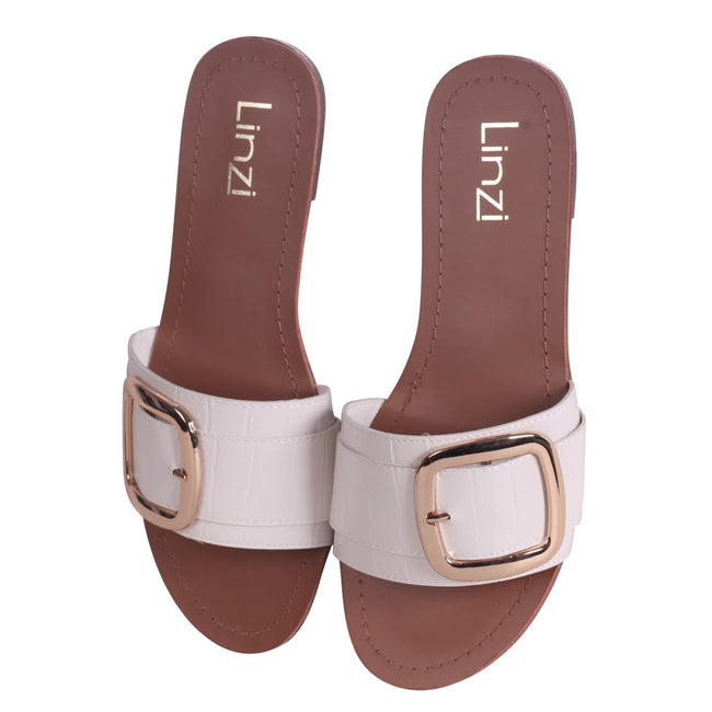 f38e5cbdab RHODES - White Croc Slip On Slider With Large Front Strap & Buckle  Detail