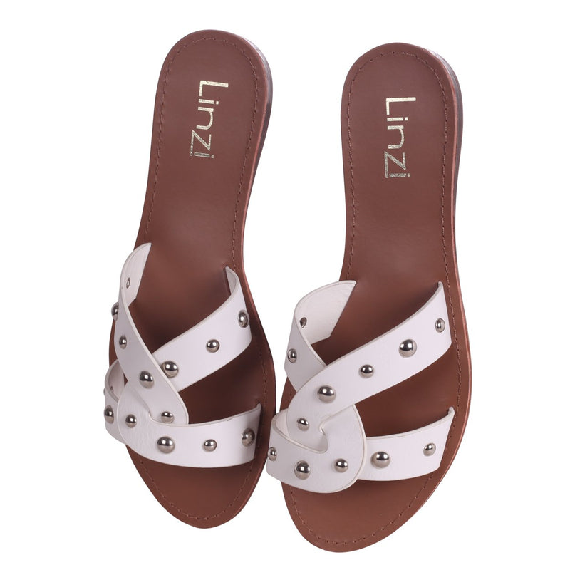 GOA - White Nappa Slip On Slider With Studded Link Shape Front Strap