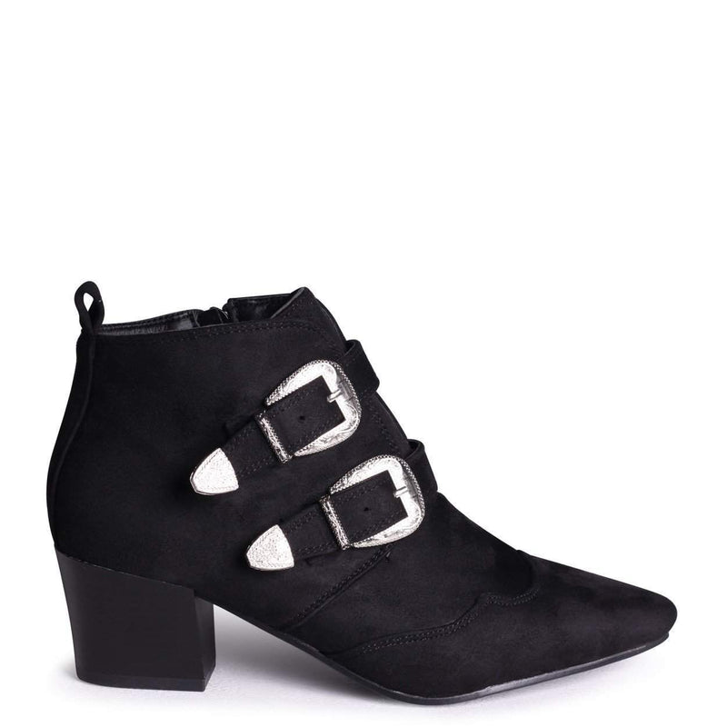 LIV - Black Suede Pointed Heeled Boot With Double Buckle Detail