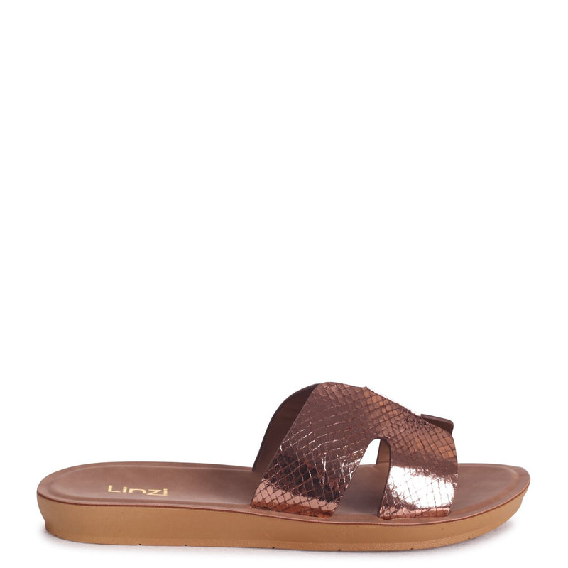 GREECE - Rose Gold Lizard Slip On Slider With Link Shaped Front Strap