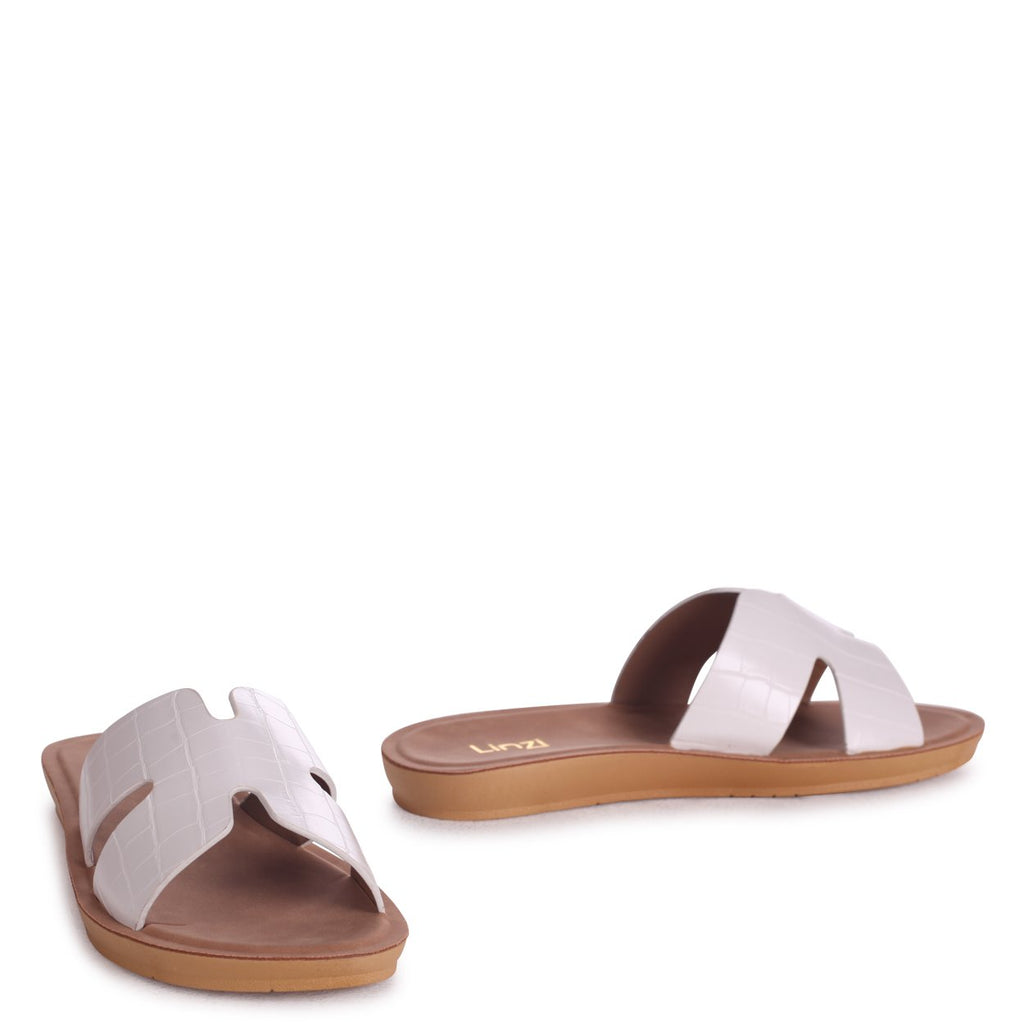 GREECE - White Croc Slip On Slider With Link Shaped Front Strap