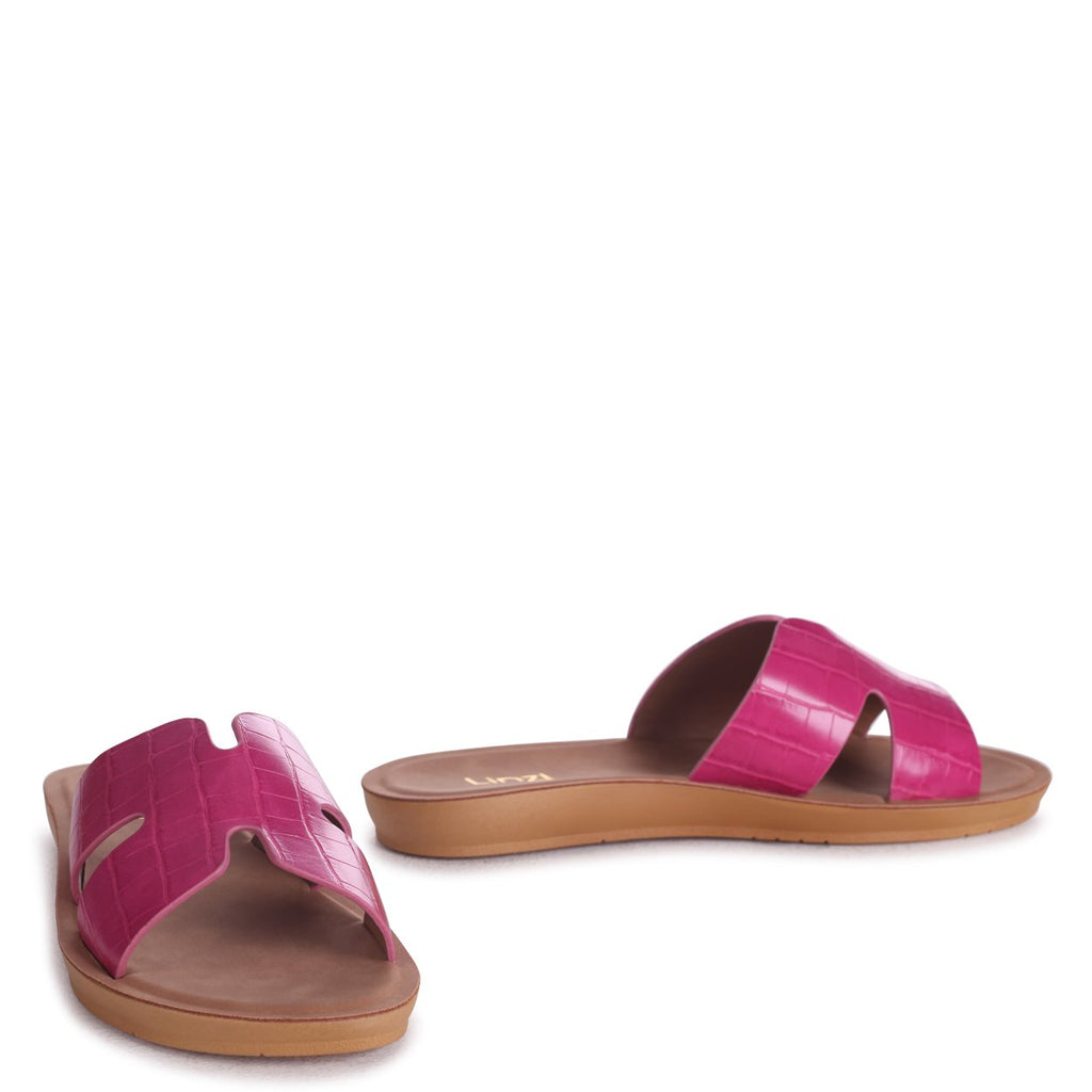 GREECE - Fuchsia Croc Slip On Slider With Link Shaped Front Strap