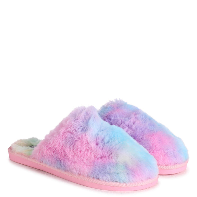ZERO - Tie Dye Fluffy Closed Toe Slippers