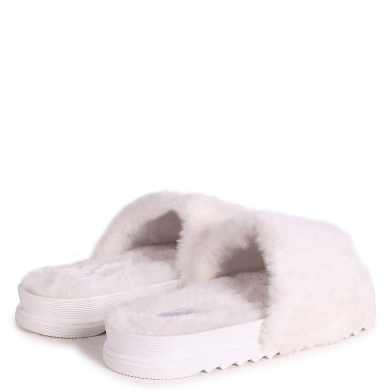 FLUFFY - Cream Fluffy Open Toe Slippers With Cleated Sole