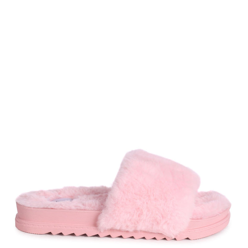 FLUFFY - Pink Fluffy Open Toe Slippers With Cleated Sole