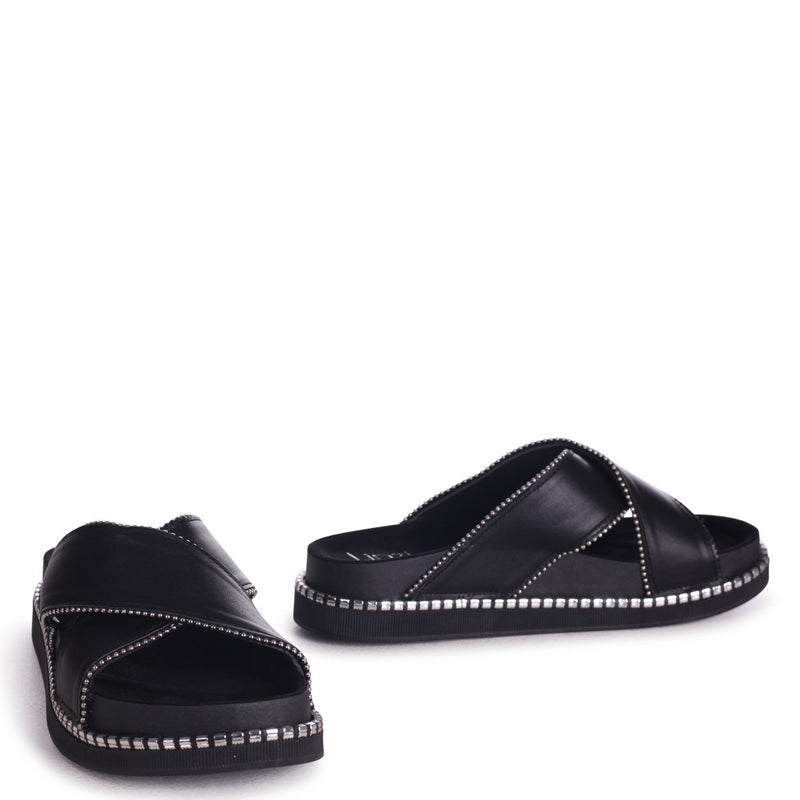 JUSTIFY - Black Nappa Slip On Flatform Slider With Studded Crossover Front Strap