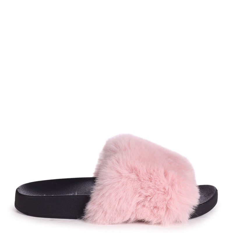 KENDALL - Pink Faux Fur Sliders