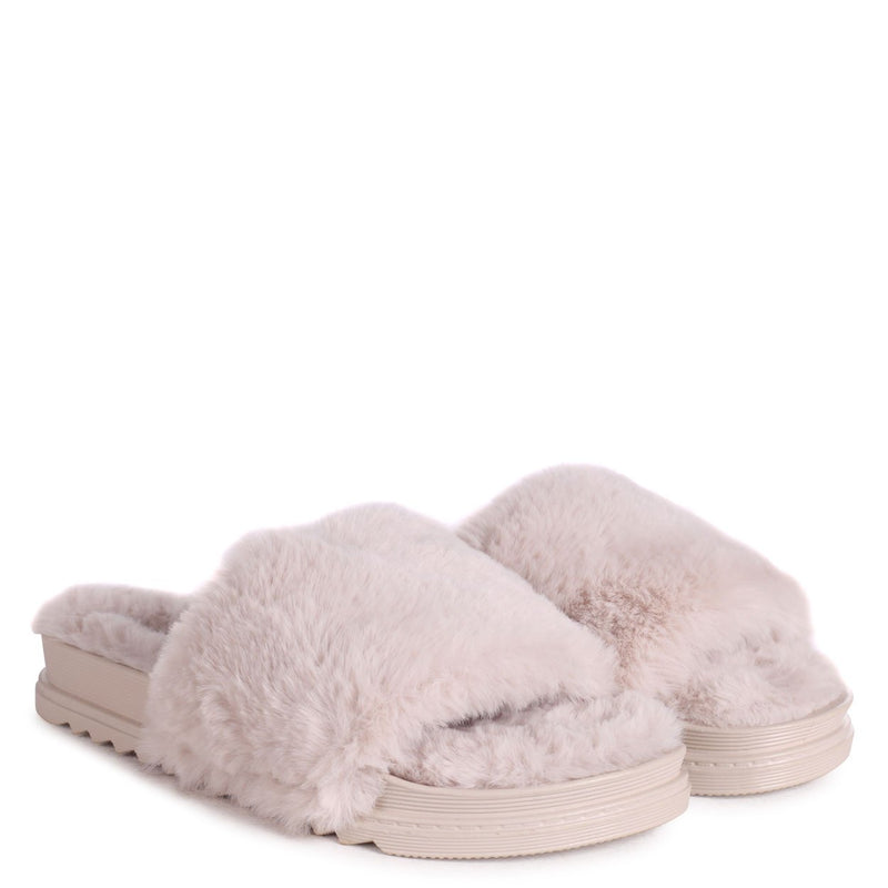 FLUFFY - Mocha Fluffy Open Toe Slippers With Cleated Sole