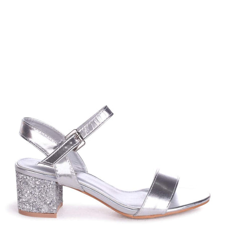BOBBIE - Nude Patent Slim Heeled Sandal With Square Toe