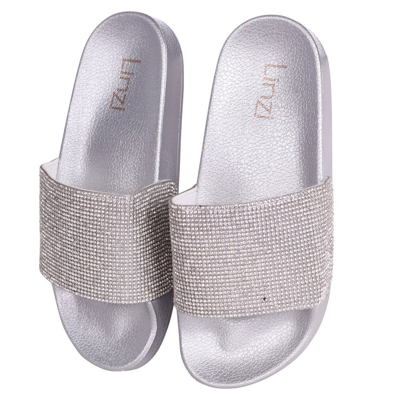 COCO - Silver Slip On Diamante Strap Sliders