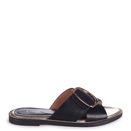 MARTINO - Black Slip On Slider With Studded Front Strap