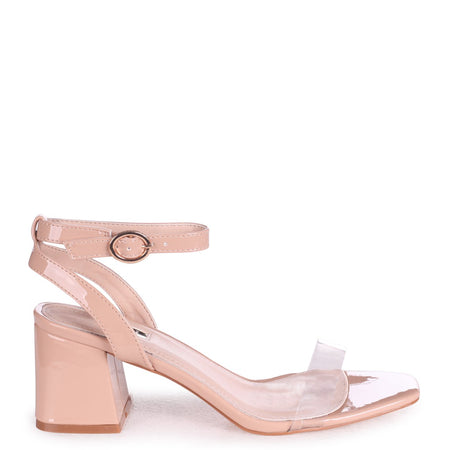 NELLY - Cream Glitter Suede Suede Single Sole Block Heel