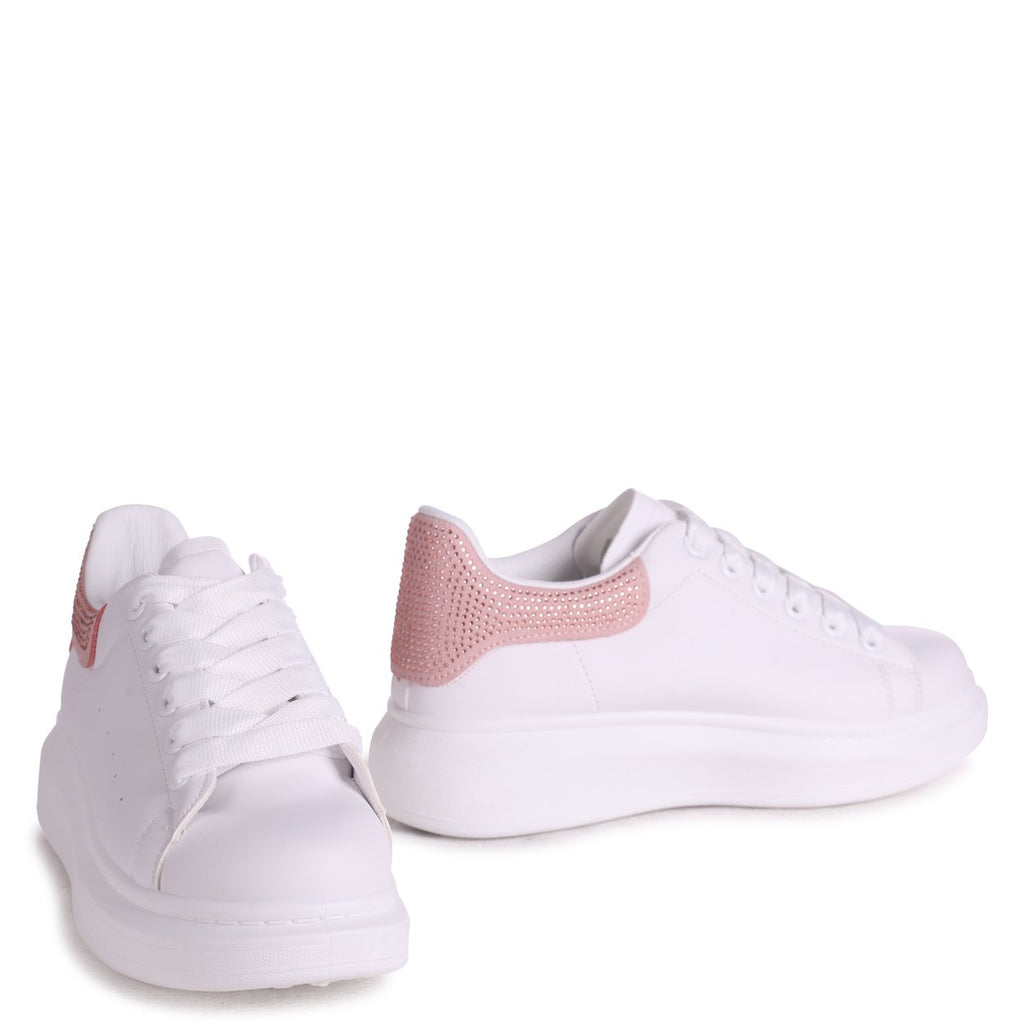CHYNA - White Nappa Platform Trainer With Pink Diamante Back Detail
