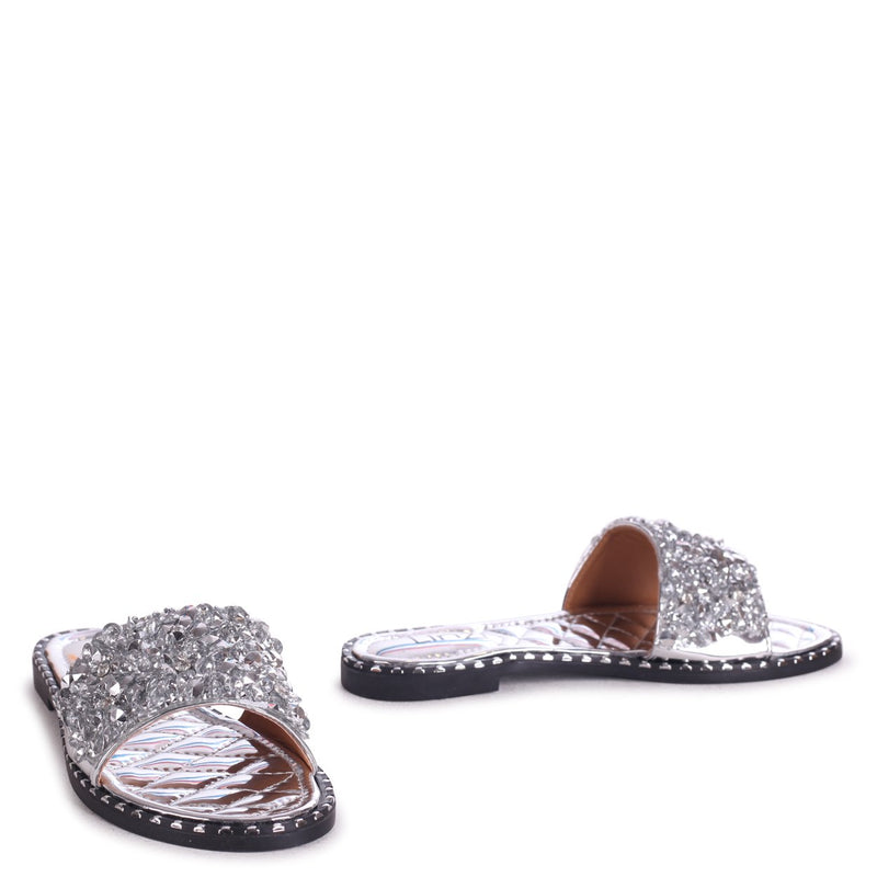 SPEARMINT - Silver Heavily Embellishes Diamante Slip On Slider