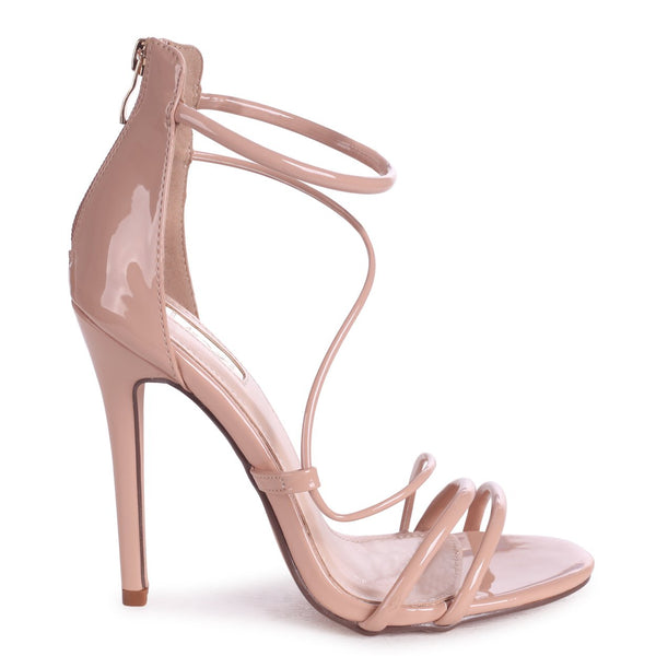 9310a28ec5 CORINNA - Mocha Patent Strappy Caged Stiletto Heel With Ankle Strap – AX  Paris