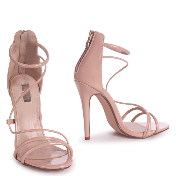 CORINNA - Mocha Patent Strappy Caged Stiletto Heel With Ankle Strap