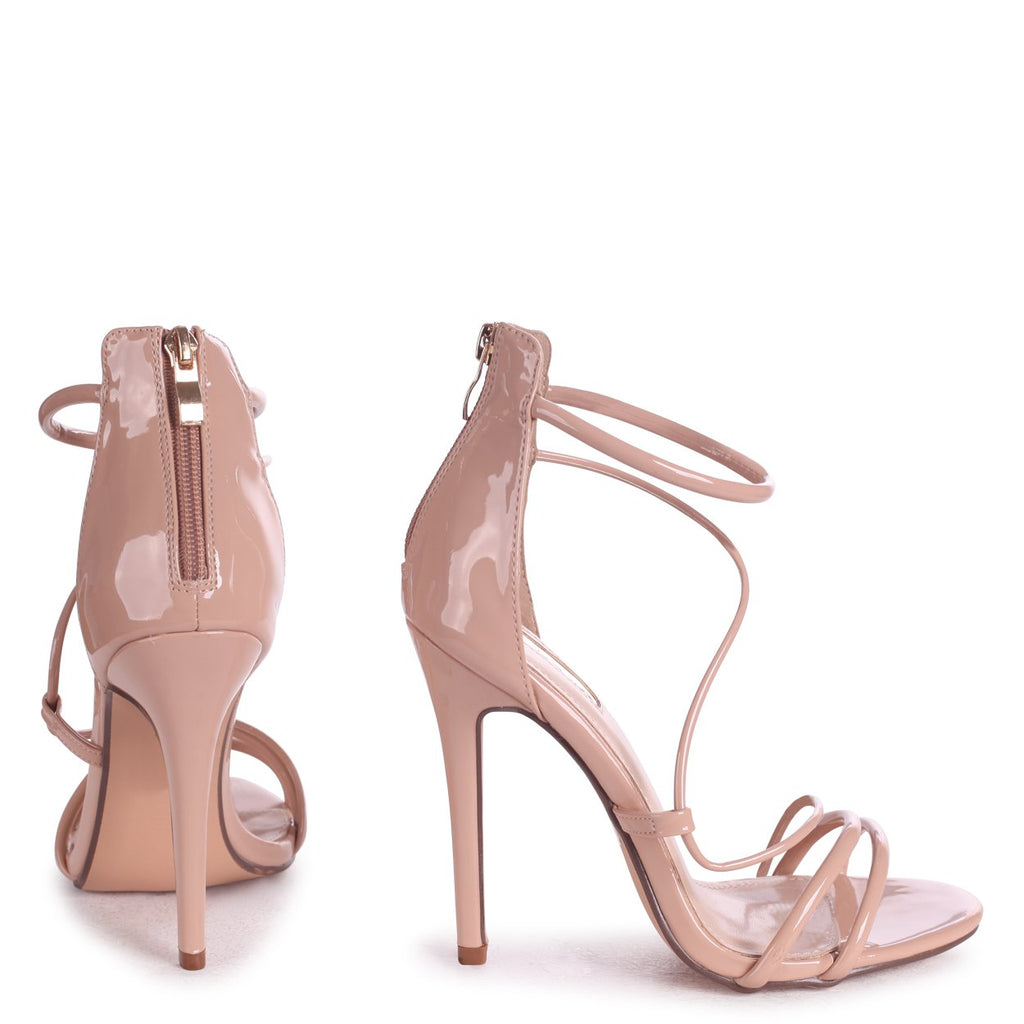 95d79c61c8 CORINNA - Mocha Patent Strappy Caged Stiletto Heel With Ankle Strap ...