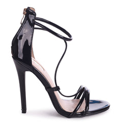 CORINNA - Black Patent Strappy Caged Stiletto Heel With Ankle Strap