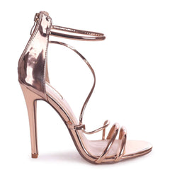 CORINNA - Rose Gold Metallic Strappy Caged Stiletto Heel With Ankle Strap