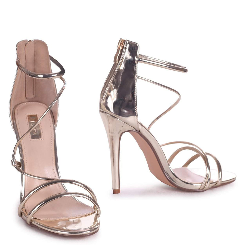CORINNA - Gold Metallic Strappy Caged Stiletto Heel With Ankle Strap