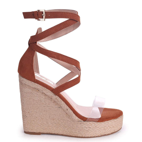 31675d21b Toffee Suede Rope Platform Wedge With Perspex Front Strap
