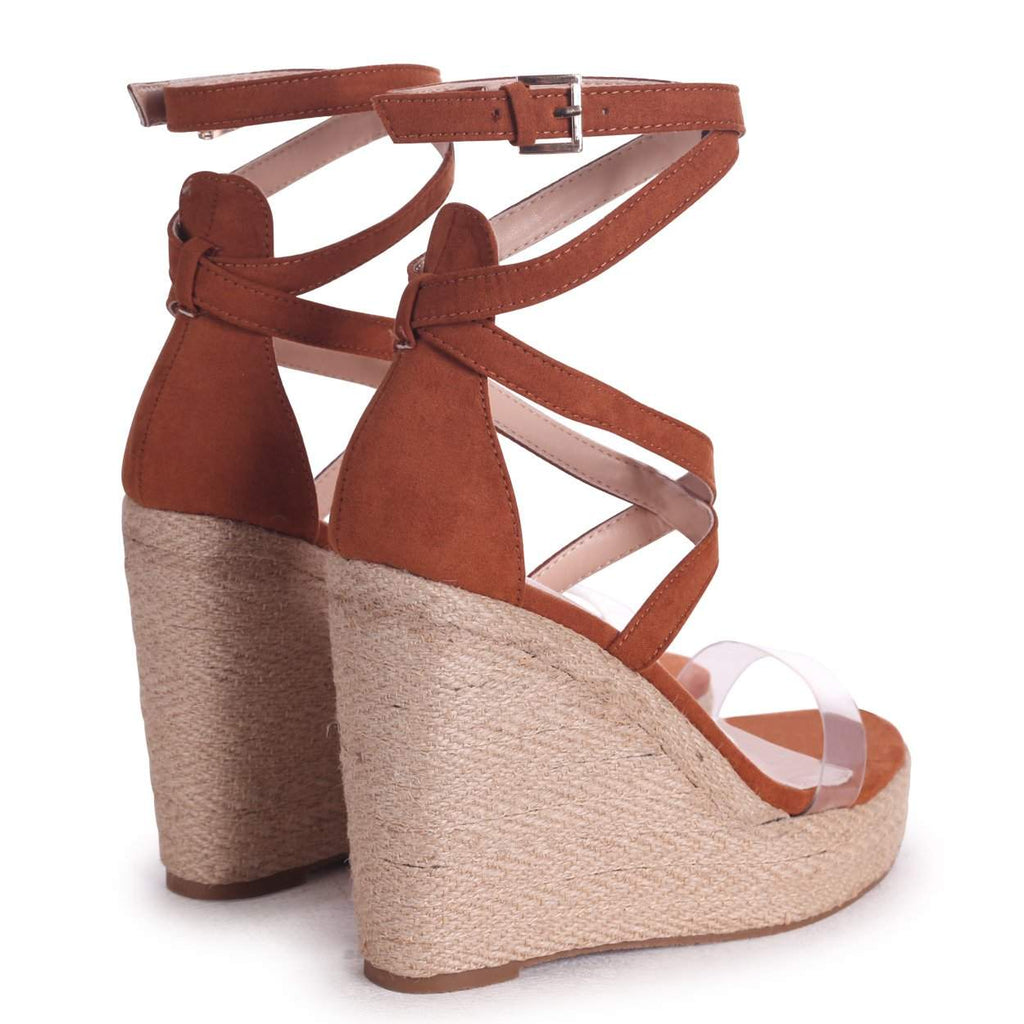 DANIELLE - Toffee Suede Rope Platform Wedge With Perspex Front Strap