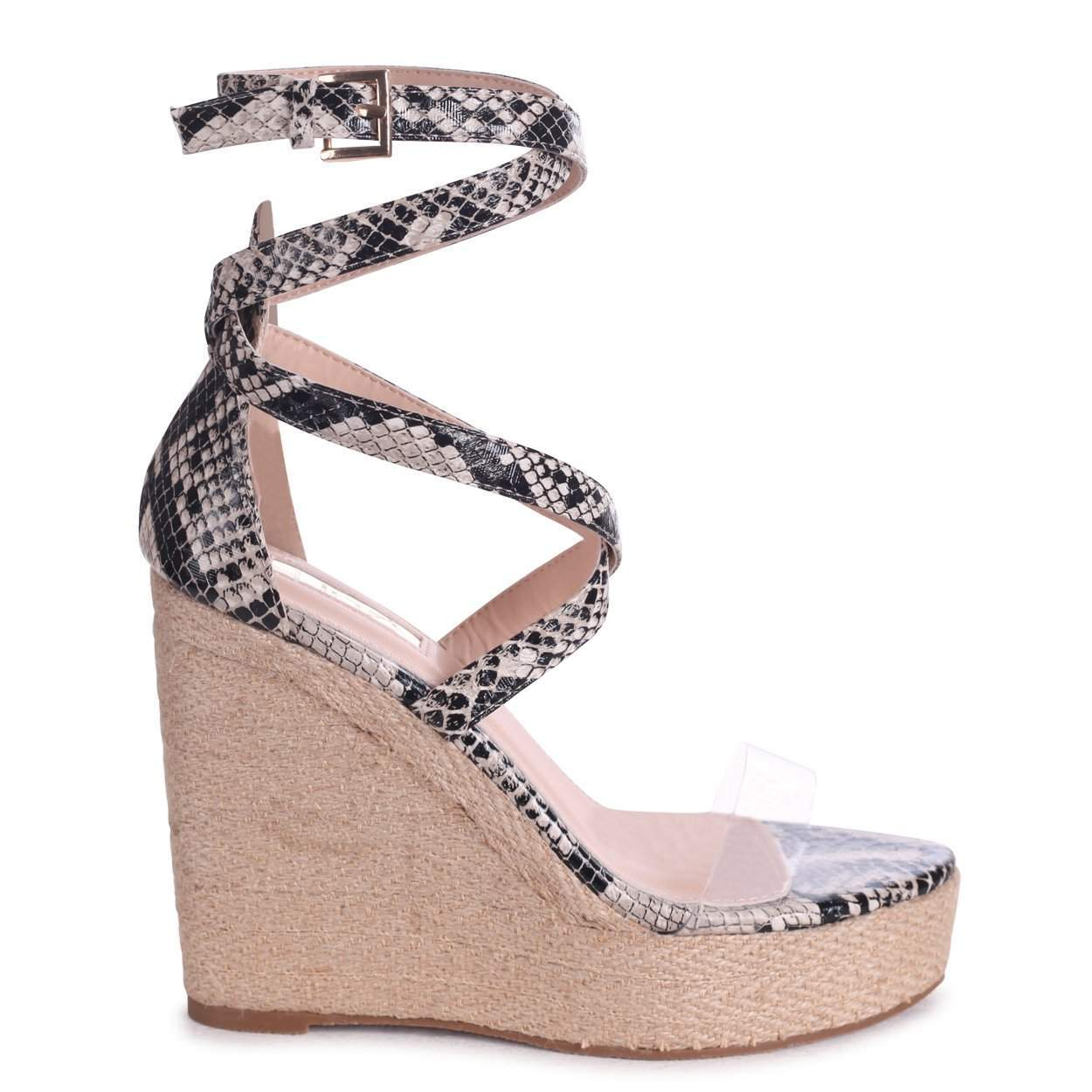 DANIELLE - Natural Snake Rope Platform Wedge With Perspex Front Strap