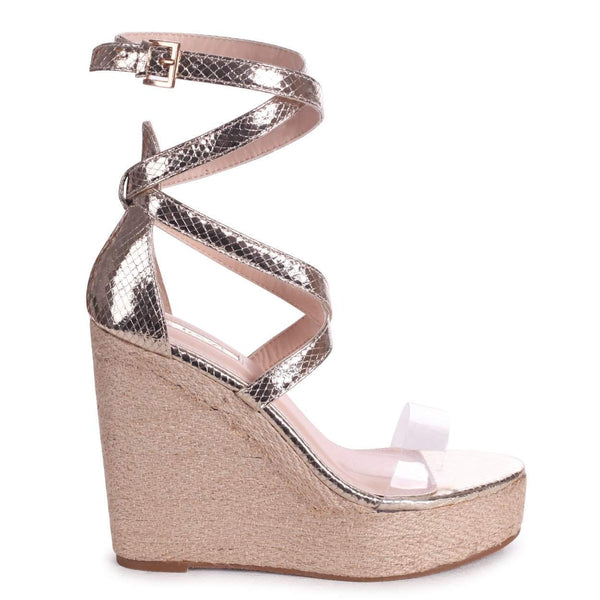 DANIELLE - Gold Lizard Rope Platform Wedge With Perspex Front Strap