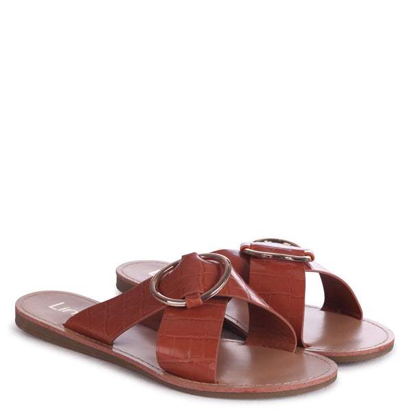 BAILEY - Tan Croc Slip On Slider With Crossover Front Strap & Ring Detail