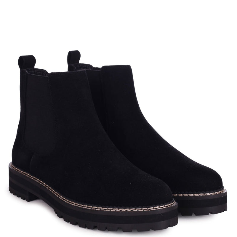 HAMPTON - Black Rough Suede Classic Chelsea Boot With White Stitching