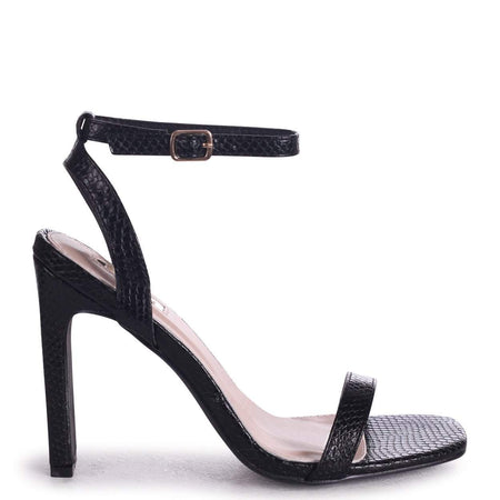 LEONORA - Black Patent Platform With Crossover Front Strap