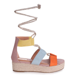 HARRIET - Multi Coloured Light Gold Rope Tie Up Espadrille Inspired Flatform