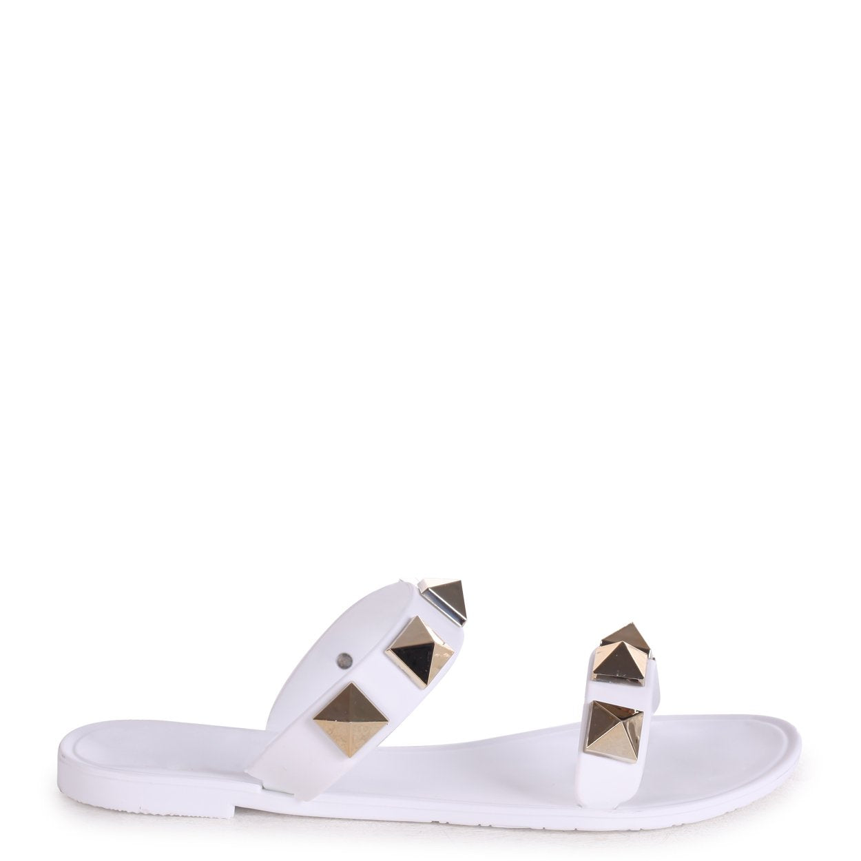 DINA - White Slip On Jelly Slider With Large Studded Detail