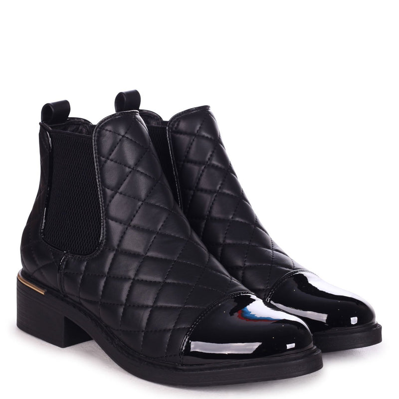 ZIMI - Black Nappa Quilted Chelsea Boot With Patent Toe Cap And Gold Heel Trim
