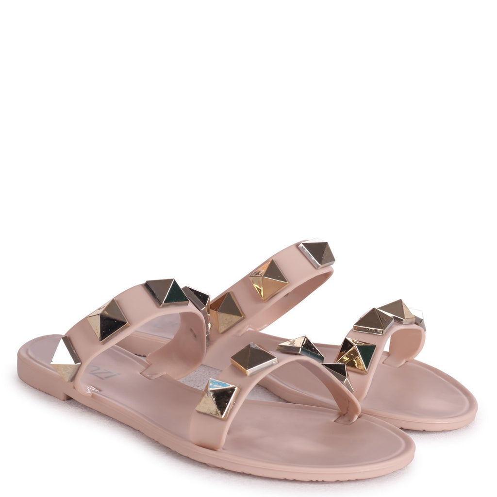 DINA - Nude Slip On Jelly Slider With Large Studded Detail
