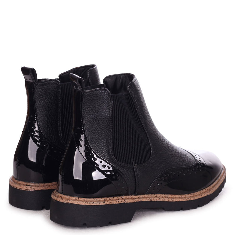 SKILL - Black Nappa & Patent Brogue Style Chelsea Boot With Brown Rand Detail