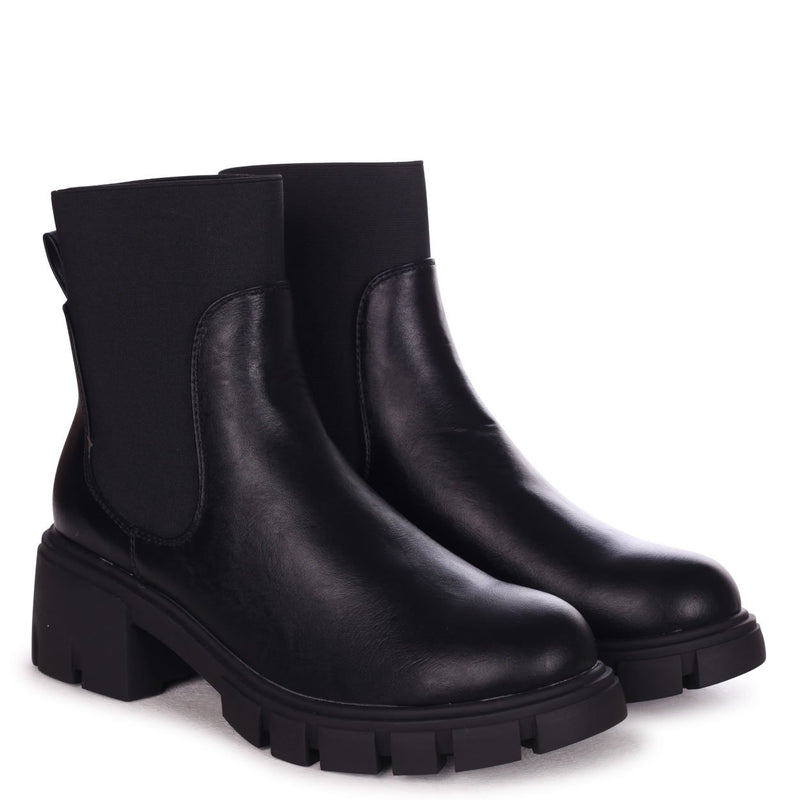BOND - Black Nappa Elasticated Chelsea Boots With Heavy Sole